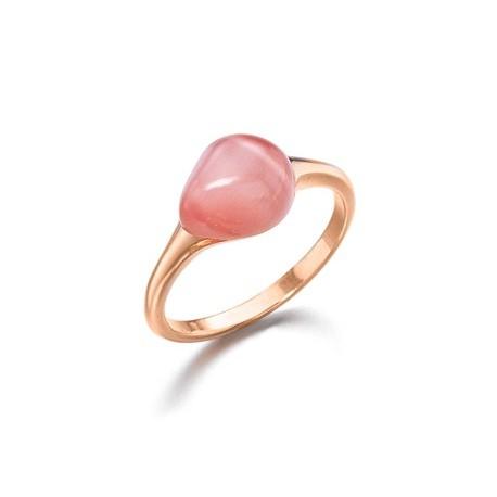 Anillo madre perla con cristal rosa