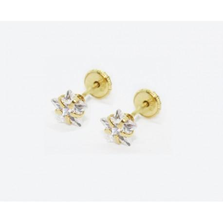 Pendientes de Oro estrella cristal