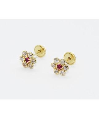 Pendientes de Oro flor morada