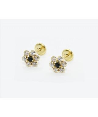 Pendientes flor de Oro negra