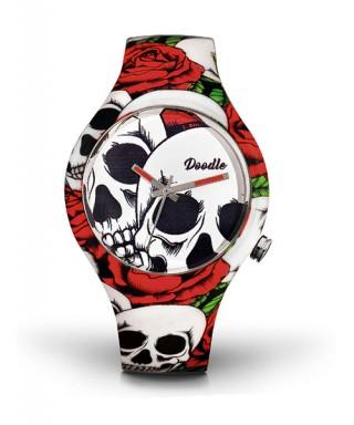 Reloj Doodle rosas y calaveras