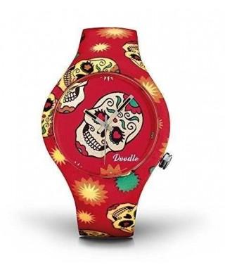 Reloj Doodle rojo calaveras