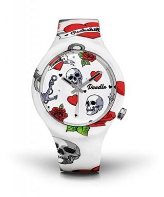 Reloj Doodle corazones y calaveras
