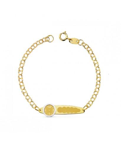 de80f4b61c94 Esclava de Oro para bebé con reloj