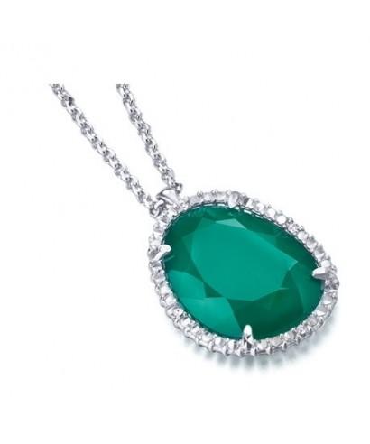 Colgante calcedonia esmeralda con diamantes