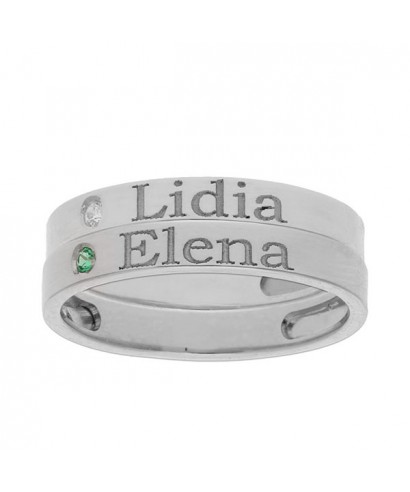 2 anillos plata personalizados nombre