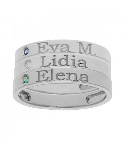 3 anillos plata personalizados nombre