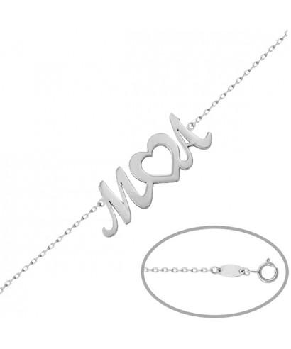Pulsera plata letras y corazón