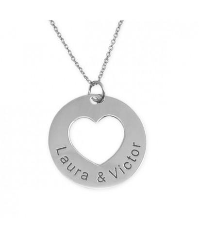 Pulsera plata colgante corazón personalizable