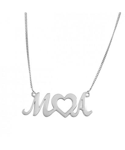 Colgante plata corazón y letras