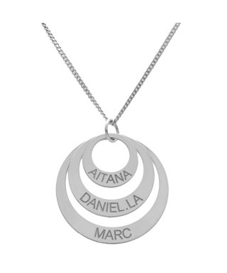 Colgante plata círculo 3 nombres