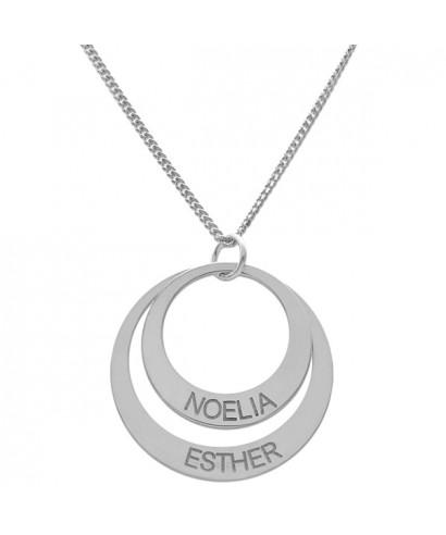 Colgante plata círculo dos nombres