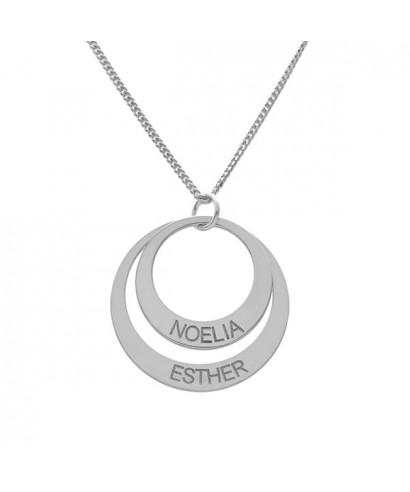 Colgante plata círculo dos nombres 19 mm