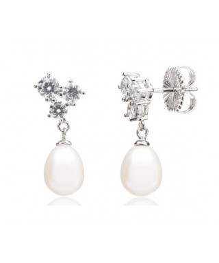 Pendientes plata y perla Langeais