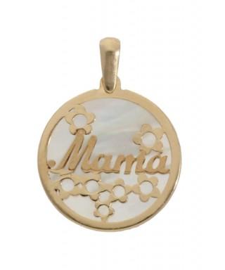 Colgante de Oro Mamá flores y nácar