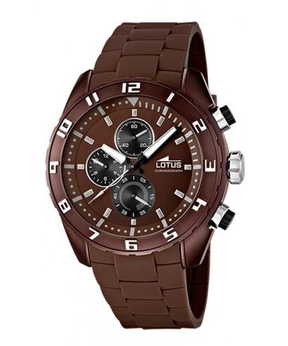 a2f5b88de294 Reloj Lotus para hombre con caja de acero y correa de caucho marrón
