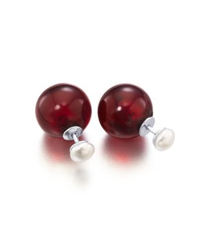 Pendientes madre perla granate
