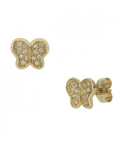 Pendientes de Oro mariposa circonitas