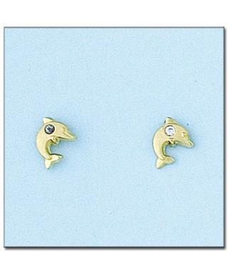 Pendientes de Oro delfin con circonita