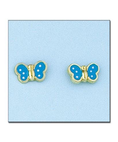 Pendientes mariposa Oro y esmalte azul