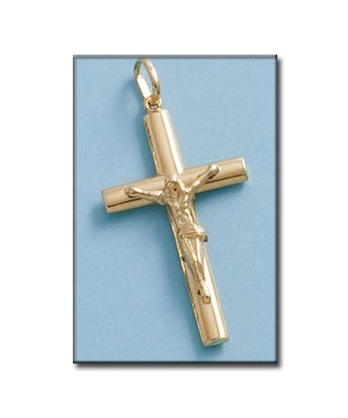 Cruz de Oro hueca con cristo