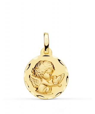 Medalla infantil Angel y paloma Oro