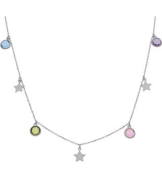 Gargantilla plata estrellas y circonitas colores