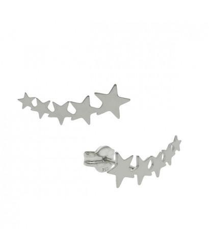 Pendientes trepadores estrellas plata