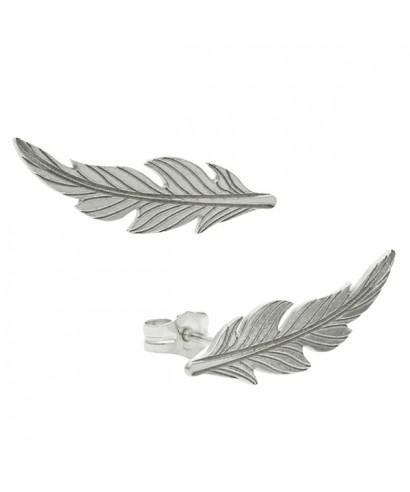 Pendientes trepadores pluma plata