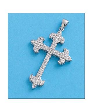 Cruz de plata circonitas blancas