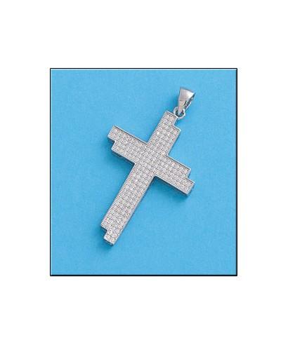 Cruz de plata con circonitas