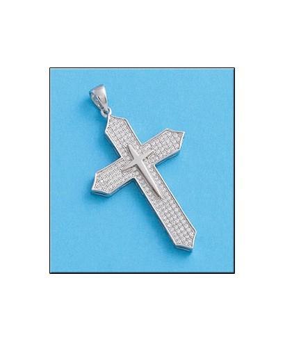 Cruz doble de plata con circonitas