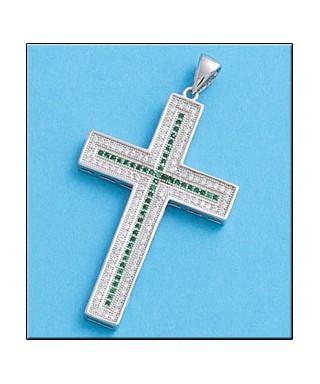 Cruz de plata circonitas verdes