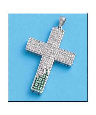 Cruz de plata con circonitas blancas y verdes
