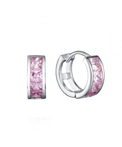 Aros Viceroy cristales rosa chicle