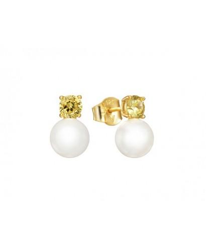 Pendientes Viceroy perla cristal amarillo