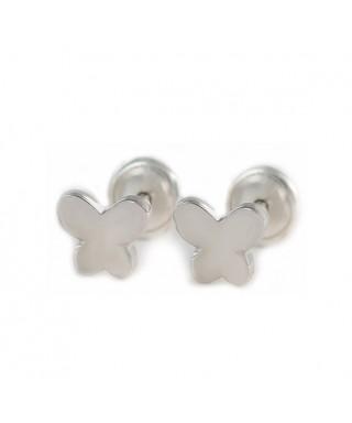Pendientes bebé mariposa de plata