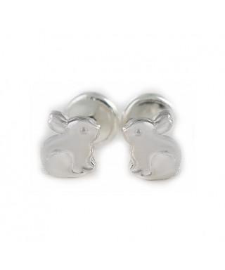 Pendientes bebé conejo de plata