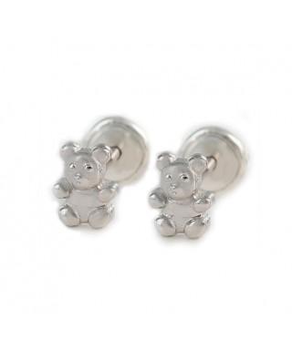 Pendientes infantiles oso de plata