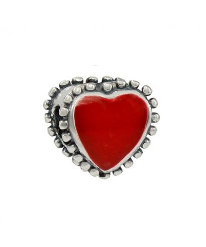 Abalorio plata corazón rojo