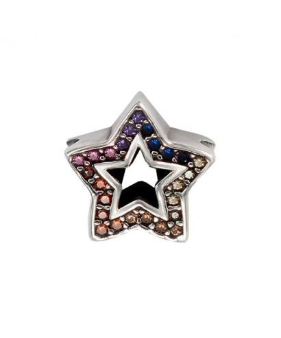 Abalorio estrella de plata colores