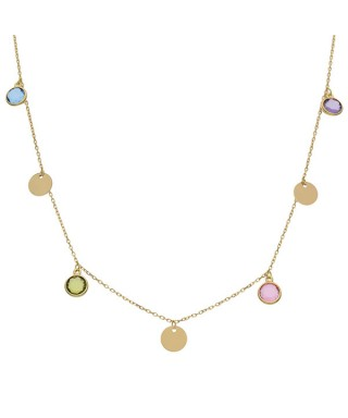 Gargantilla de Oro círculos y piedras colores