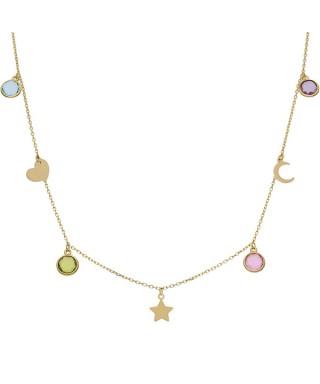 Gargantilla de Oro charms y colores