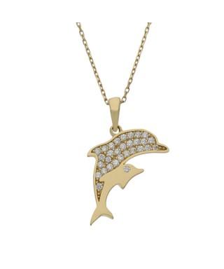 Gargantilla delfines de Oro circonitas