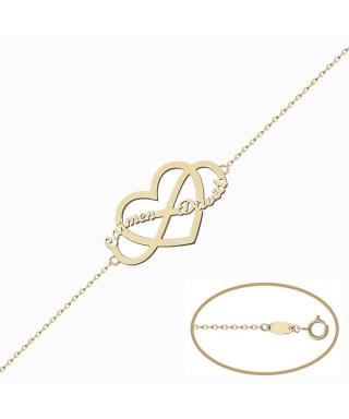 Pulsera personalizada Oro corazón infinito nombres