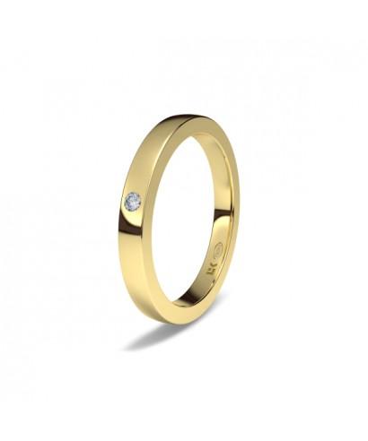 Alianza de oro amarillo cuadrado diamante