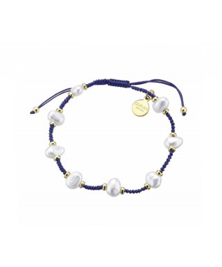 Pulsera Duran perlas azul dorada