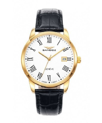 Reloj Sandoz negro dorado hombre 81437-93