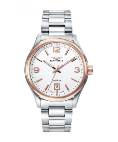 Reloj Sandoz hombre bicolor rosado