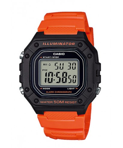 Reloj Casio digital naranja W-218H-4BVEF